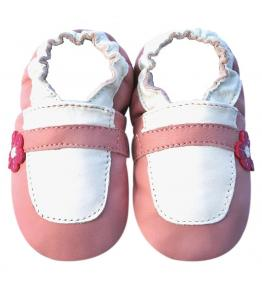 Chaussons cuir souple rose Marie Jeanne blanche JinWood
