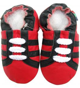 Chaussons cuir souple rouge Sport blanc Carozoo